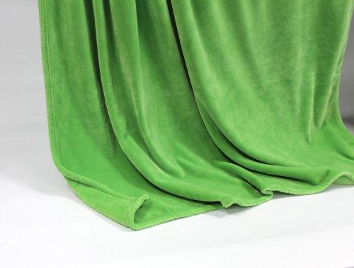 Feinste Tagesdecke Wohndecke Mikrofaserdecke Kuscheldecke, extra dick mit Silk/Cashmere Touch, ca. 150 x 200 cm, saftgrün