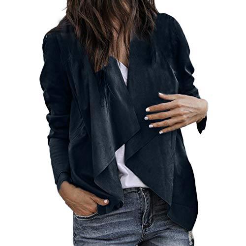 TUDUZ Damen Langarm Leder Open Front Kurz Strickjacke Anzug Jacke Arbeit Büro Mantel Trenchcoat