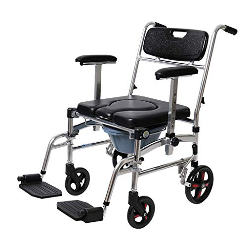 Z-SEAT Silla con Inodoro con Ruedas, Silla para Inodoro Sillas de Ruedas con Respaldo Alto reclinable, con Brazo abatible y Marco de Seguridad, para Adultos, discapacitados