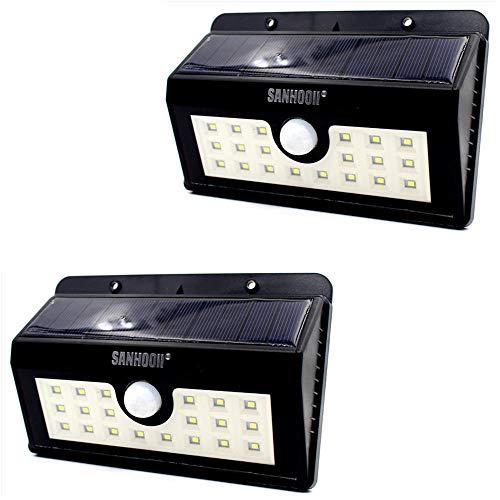 Luz solar Jardín Exterior Negro 20 LED Luz solar PIR Sensor de movimiento del cuerpo humano Lámpara de 3 modos