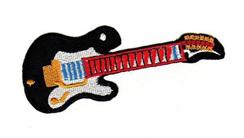 E - Gitarre Schwarz Rock Musik Aufnäher Bügelbild Iron on Patches Applikation