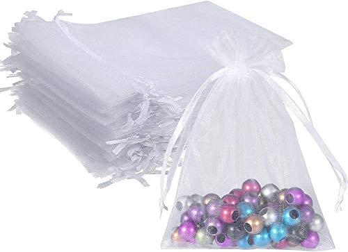 UCLEVER 50 Piezas bolsitas de Organza Blanco 12x17 cm Bolsas de Tul para Regalos Joyas Bodas Tansparente