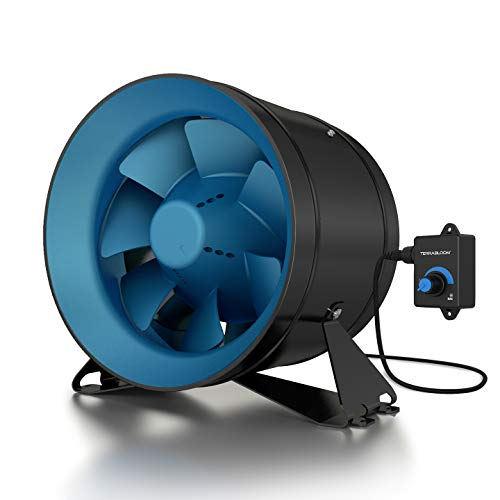 "TerraBloom ECMF-250, Quiet 10"" Inline Duct Fan with 0-100% Variable Speed Controller, Air Tight Metal Casing, Energy Efficient EC Motor. Heating and Cooling Booster and Exhaust Blower For Grow Rooms"