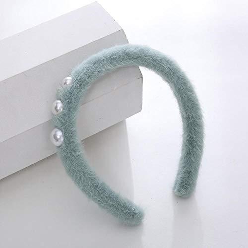 Accessoires pour cheveux Couleur simple simple en peluche perle cheveux cerceau fille sauvage bandeau-Trois perles-vert