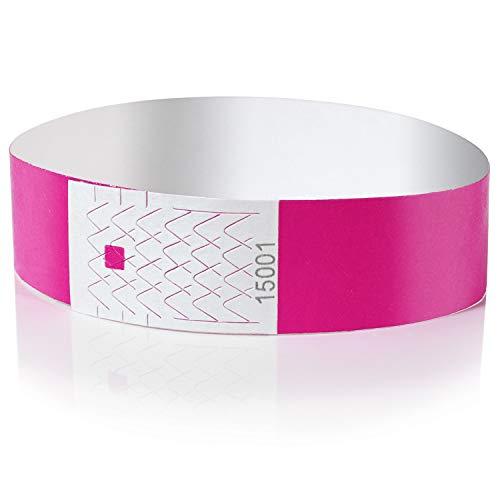 Amazy Pulseras de Identificacion (100 unids.) – Pulseras de seguridad numeradas e imprimibles para el control de eventos y fiestas (Rosa)