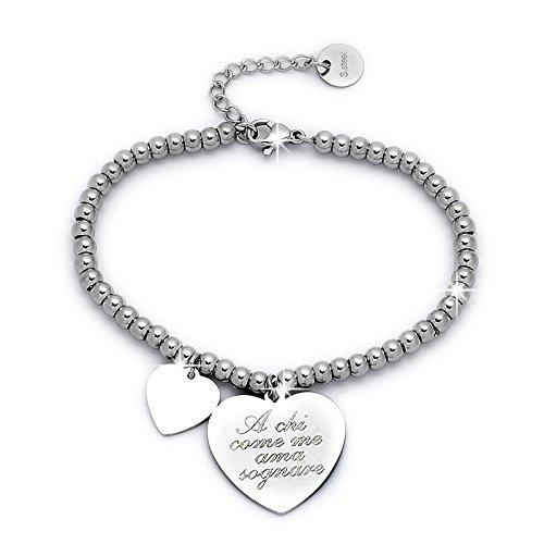 Beloved Braccialetto da donna, bracciale in acciaio emozionale - frasi, pensieri, parole con charms - ciondolo pendente - misura regolabile - incisione - argento (MOD 9)
