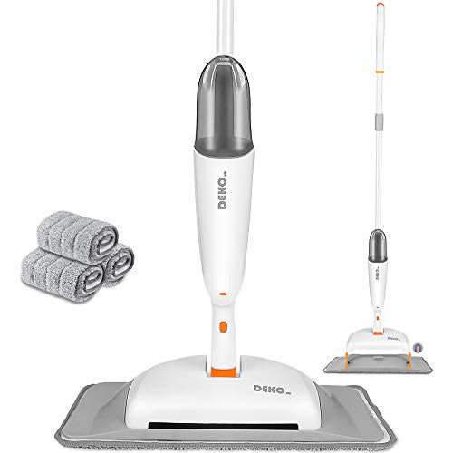 DEKOhm Spray Mop & Sweeper Kit for Floor Cleaning, 3-in-1 Dry Wet Floor Mop with 3 Reusable Microfiber Pads & Refillable Bottle Flat Mop with Sprayer for Hardwood Laminate Wood Tiles Floors