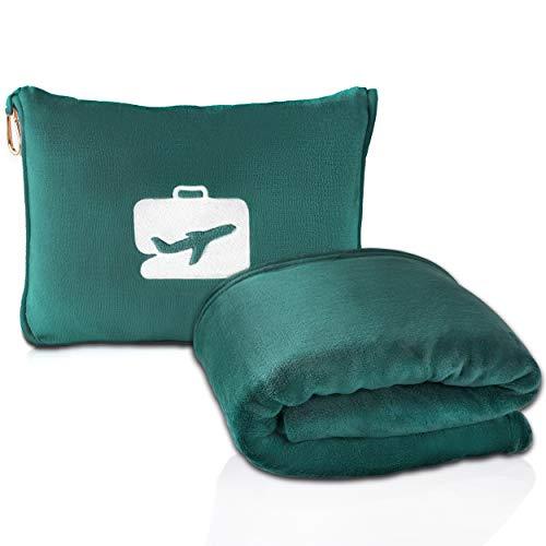 EverSnug Reisedecke und Kissen – Premium weiche 2-in-1 Flugzeugdecke mit weichem Taschenkissen, Handgepäck-Gürtel und Rucksack-Clip (blaugrün)