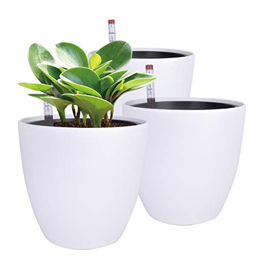 Vencer 7'' Plastic Round 3 Pack Self Watering Planter,with Water Indicator,Modern Decorative Planter Pot for All House Plants Flowers, Herbs,White,VF-166W