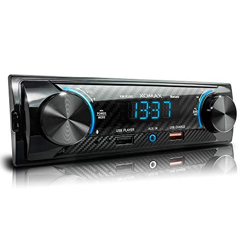 XOMAX XM-R280 Autoradio mit FM, Bluetooth Freisprecheinrichtung, USB, 2. USB-Anschluss mit Ladefunktion, MP3, AUX-IN, verkürzte Einbautiefe, 1 DIN