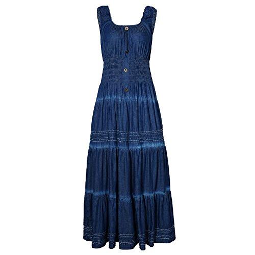 DREFBUFY Maxi Dress Women's Summer Boho A-line Sleeveless Midi Dresses Embroidered Pleated Casual Long Denim Look for Women (Blue04, Medium)
