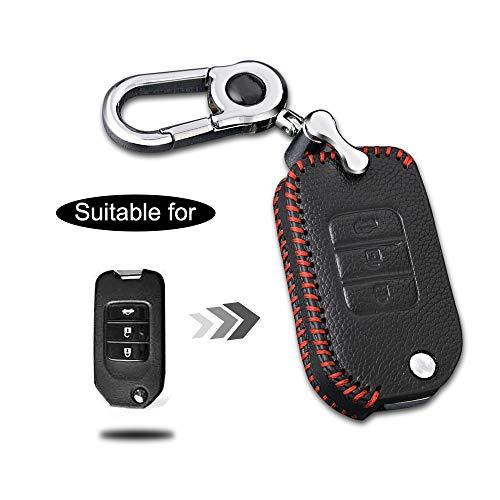 Carcasa Cuero para Llave Honda 3 Botones Llave Control Remoto Plegable línea roja con Llaveros 1 PC Modelo E