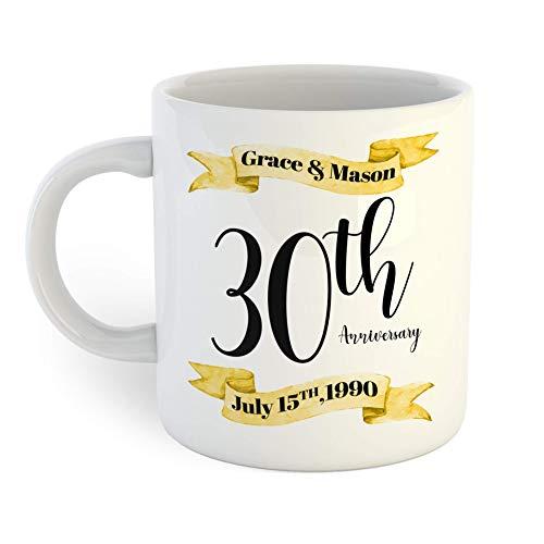 N\A Taza de café del 30 Aniversario de Oro y Negro