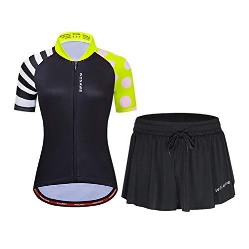 ZMMZZ Camisetas de ciclismo para mujer, verano Mtb Ciclismo ropa transpirable Ciclismo Jersey conjuntos, amarillo, XL