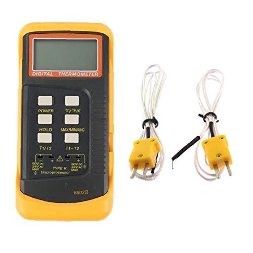 OMMO LEBEINDR Termómetro Digital termopar Dual Termómetro con 2 Sensor de la sonda de termopar de la Temperatura del probador del Metro para Medición