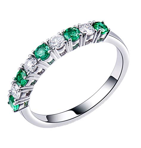 AtHomeShop Real Gold Collection, 18K White Gold Rings, Engagement Rings with Shiny Round Emerald and Diamond Marriage Proposal Ring for New Year Gift, Polished White Gold
