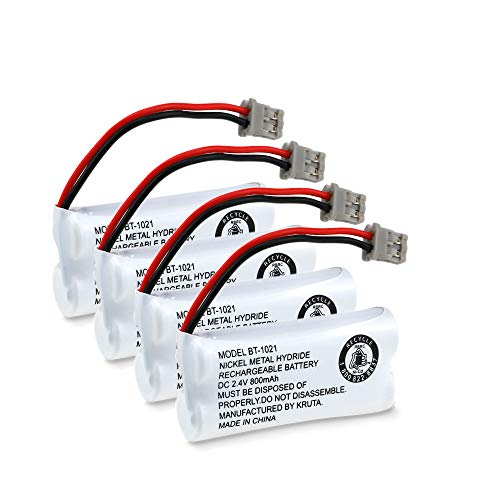 Kruta BT-1021 BBTG0798001 Compatible with Uniden BT-1021 BT1021 BT-1008 BT-1016 BT-1025 2.4V 800mAh Cordless Handset Phone Rechargeable Replacement Battery (4 Pack of BT1021 Batteries)