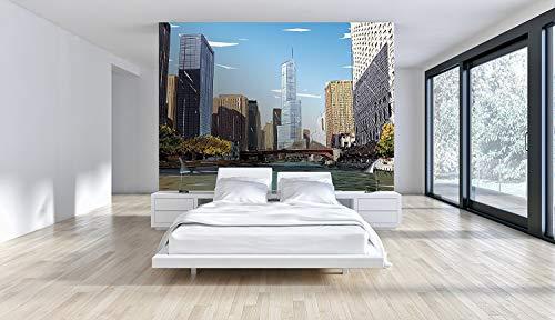Oedim Papier Peint Revêtement Surface Mural | Motifs Mur d'image Pont de La Ville | De 500 x 300 cm | Sticker Vinyle Adhésif Autocollant Fond Mural | Decoration d'intérieur