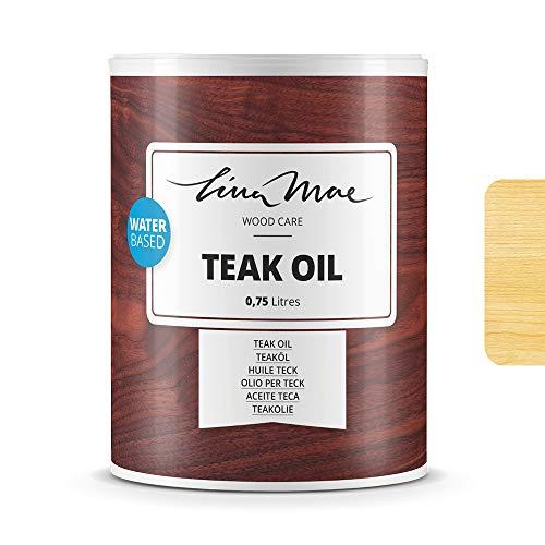 Aceite de Teka Con Acabado Natural al Agua - Protección y Restauración de la Madera Teca en Intemperie Ideal para Sillas y Mesas de Jardín, Tumbonas y Muebles (750 ml, Miel)