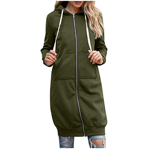 KIMODO Mittellanger Kapuzenmantel mit Kapuze für Damen Mode Hoodie Sweatshirt Mantel Zipper Jacke Casual Einfarbiger Langarm Cardigan (Armeegrün, 4XL)