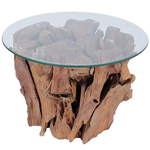 EBTOOLS Mesa de Comedor, Mesa Salón Cocina Mesa de Sofá Multiusos Base de Teca Maciza + Tablero de Cristal Templado, 50 x 40 cm