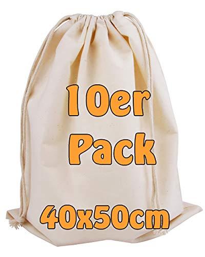 Cottonbagjoe Baumwollbeutel | groß | Stoffbeutel | Zero Waste | mit Kordelzug | zur Aufbewahrung | zum Bemalen | Turnbeutel | 40x50 cm | (Natur, 10 Stück)
