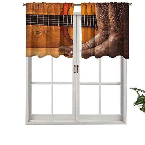 Hiiiman Cenefa opaca con bolsillo para barra, diseño de música americana, instrumentos de guitarra, zapatos de vaquero, juego de 1, 91,4 x 45,7 cm, cenefa corta recta para sala de estar