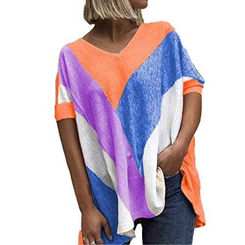 Mayntop Camiseta de verano para mujer con estampado de bloques de color, suelta, manga corta, mangas murciélago, cuello en V, blusa étnica, B-naranja, 44
