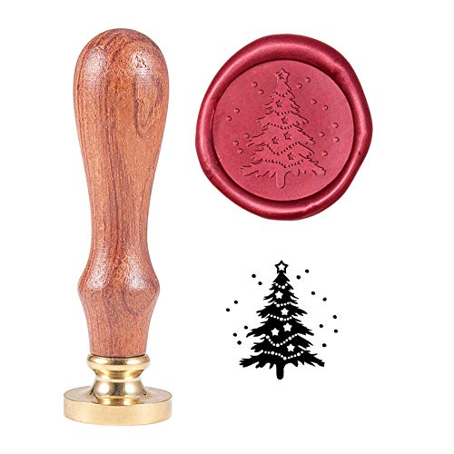 PH PandaHall Christmas Tree Wax Seal Stamp Vintage Retro Sealing Stamp for Christmas Embellishment of Envelopes, Invitations, Wine Packages, Gift Packing
