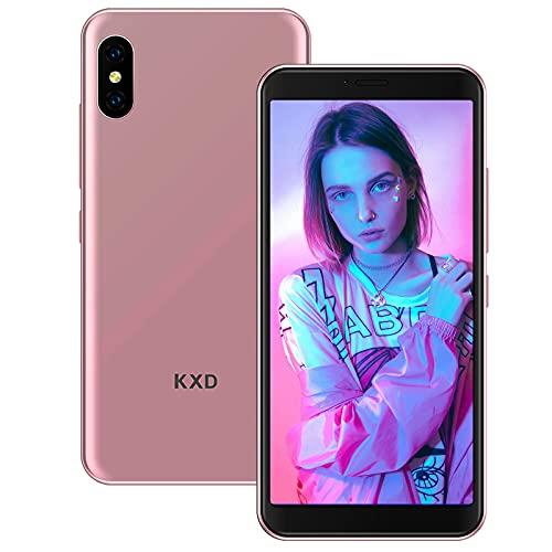KXD 6A Teléfono Móvil 1GB RAM +8GB RAM (64GB SD) Teléfono Inteligente 3G Android Desbloqueado 5.5 Pulgadas 2500mAh Batería Libre Dual SIM Movil Barato 5MP Cámara-Oro Rosa