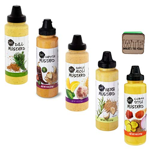 Ultimate Mustard Lover's Variety Pack - 5 Sam's Choice Flavors - DILL, HERB, CUBAN, CHIPOTLE & GARLIC AIOLI - 9oz Squeeze Bottles (45 oz Bulk Total). Bonus Wood Tile Magnetic Clip with funny phrase.