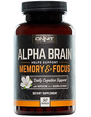 ONNIT Alpha Brain (90ct) - Over 1 Million Bottles Sold - Premium Nootropic Brain Supplement - Focus, Concentration & Memory - Alpha GPC, L Theanine & Bacopa Monnieri