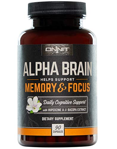 ONNIT Alpha Brain (90ct) - Over 1 Million Bottles Sold - Premium Nootropic Brain Supplement - Focus, Concentration & Memory - Alpha GPC, L Theanine & Bacopa Monnieri