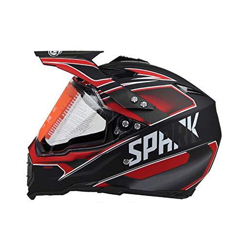 JayQm motorcross helm, volledig overdekte vier seizoenen snelweg off-road racen auto mountainbike volledige gezicht helm, zowel mannen en vrouwen, Dumb zwart en rode troepen stijl
