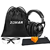 ZOHAN 030 Shooting eye and ear protection Set ,Glasses,Noise Reduction Sound Amplification Safety Earmuffs for Gun Range-Black