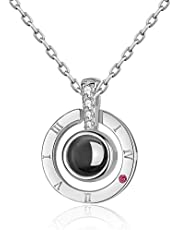 arrive S925 sterling silver projection 100 languages I love you Charm pendant necklace for women choker lover gift