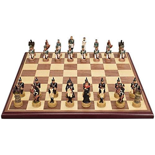 JJSFJH Viaje Juego de ajedrez con el Tablero, Tablero de ajedrez Ajedrez Juegos Tradicionales de Madera