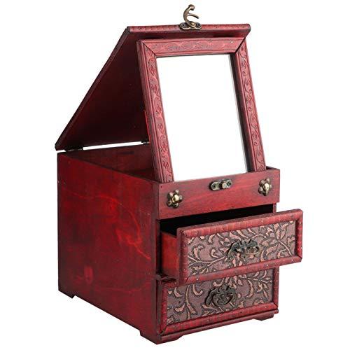 Caja de almacenamiento de joyería de madera multifuncional Caja de almacenamiento Caja de almacenamiento retro 9.1x6.3x7.1in para joyería Collares Pulseras Relojes con(8023b-grass flower)