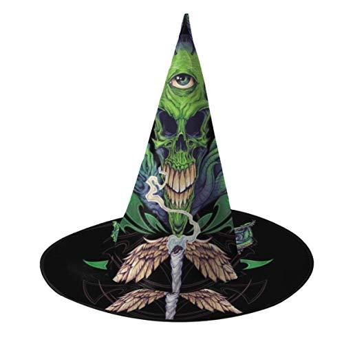 NUJSHF Topf Blatt Totenkopf Hexe Hut Halloween Unisex Kostüm für Urlaub Halloween Weihnachten Karneval Party