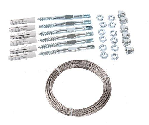 GARDINGER Rankseilsystem Stahl verzinkt Komplettset mit 6 Schrauben und 10m Stahlseil (Rankhilfe Kletterhilfe Rankseil)