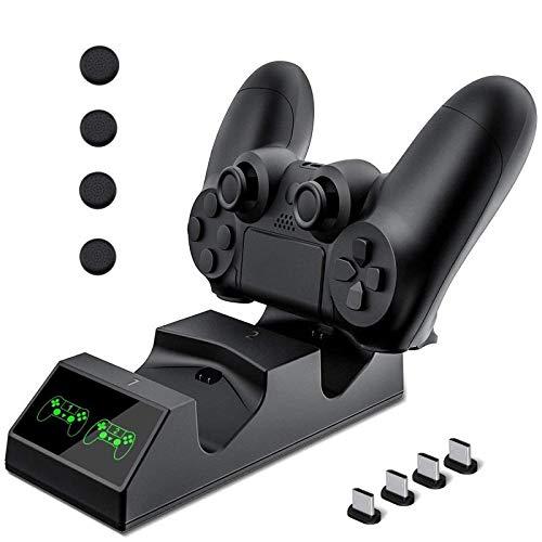 Cargador Mando PS4 Hezbjiti PS4 Estación de carga USB Base de Carga Rápida para Sony Playstation 4 / PS4 / PS4 Pro / PS4 DualShock mando delgado con 4 dongles de carga micro USB y 4 Grips para pulgar
