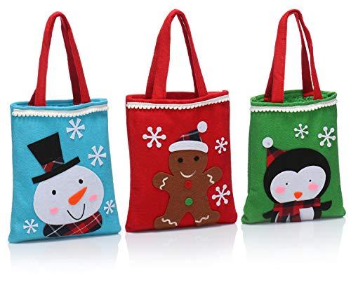 com-four® 3X Hochwertige Geschenktüte für Weihnachten mit Henkeln - Geschenktasche für Nikolaus und Advent - Geschenkbeutel mit tollen Motiven - 25 x 21 cm