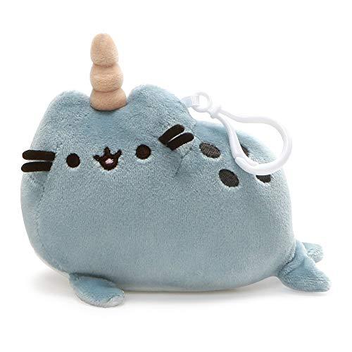 GUND Pusheen Pusheenimal Narwhal Plush Stuffed Animal Backpack Clip, Blue, 5'