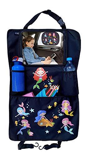 1x Organizador-protector de asientos HECKBO para niños con bolsa ajustable para tabletas con lámina táctil para hasta 20