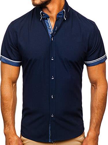 BOLF Hombre Camisa De Manga Corta Abotonada Cuello Americano Camisa de Algodón Slim Fit Estilo Casual 2B2