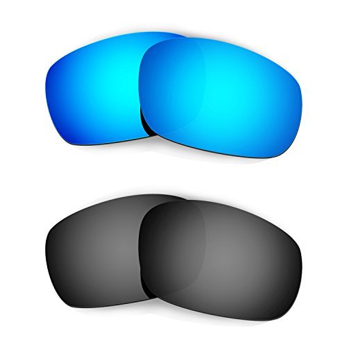 HKUCO Mens Replacement Lenses for Oakley Racing Jacket Sunglasses Blue/Black Polarized