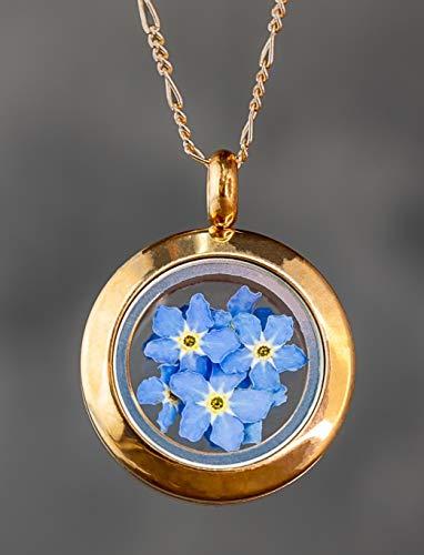 Vergissmeinnicht Medaillon mit Kette 50cm - 925 Silber - 18k Rose Vergoldet - Geschenk Set