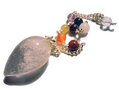 Colgante de 7 chakras con cadena de 7 chakras (cristal de roca).