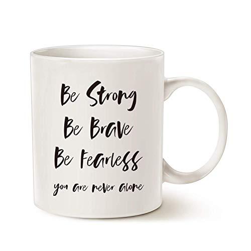GINDU Cita inspiradora Taza de café, sé Fuerte, ser Valiente, ser intrépido, Nunca estás Solo para el Mejor Amigo de la Copa Blanca, 11 oz (Color : White)