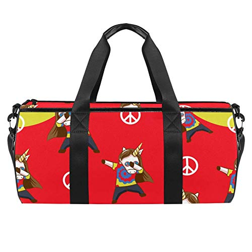 TIZORAX Sports Gym Bag Waterproof Roll Duffel Bag Cute Animal Unicorn Travel Gym Tote Dry Wet Separated Luggage for Women and Men